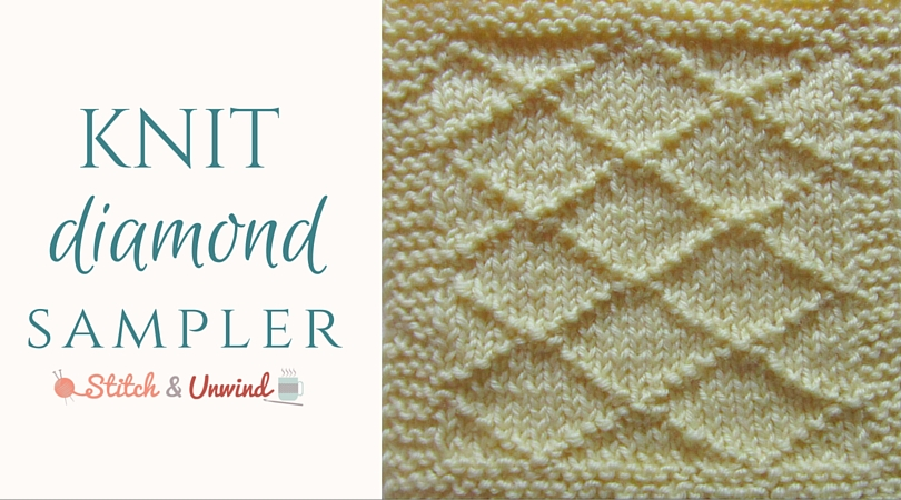 Knitting Stitches Samples : Knitting Sampler Pillow, Part 1: Diamonds on Stockinette - Stitch and Unwind