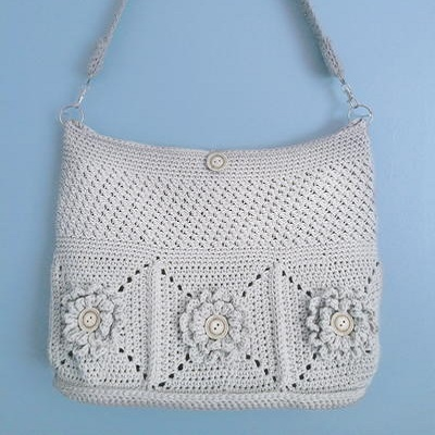 Crochet Shoulder Bag Pattern Free : Wildflower Crochet Shoulder Bag - This gorgeous white bag adds a ...