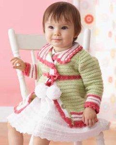 Pom Pom Crochet Baby Cardigan