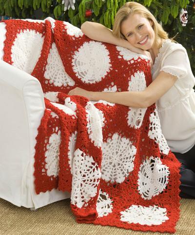 Scandinavain Snowflake Crochet Afghan