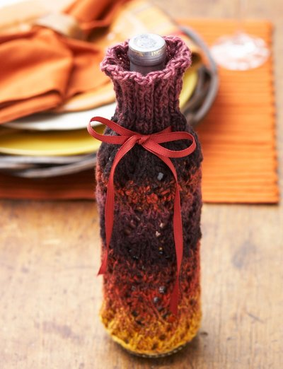 Thankful Thursday Knit Wine Cozy