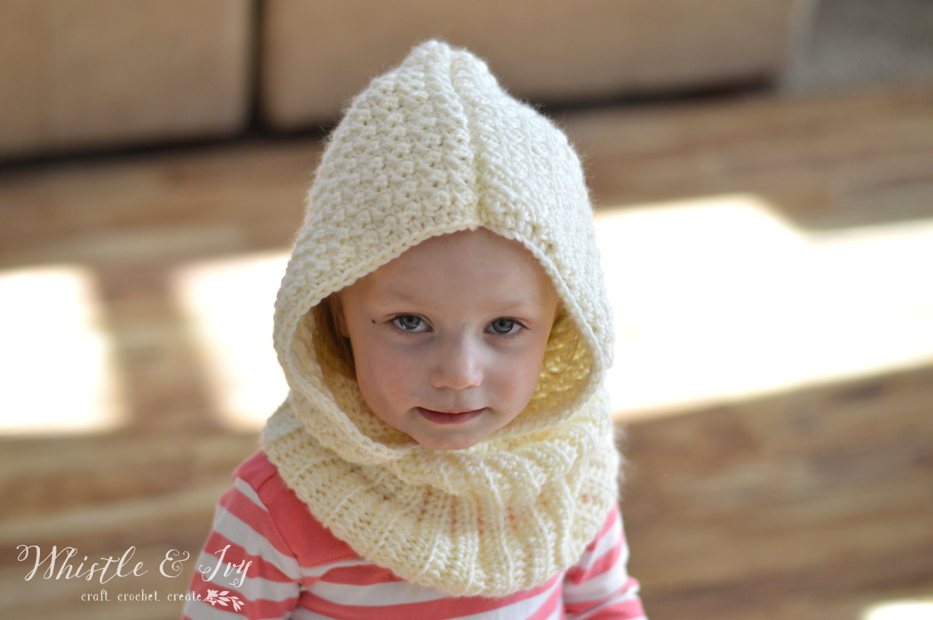 Free Crochet Pattern Toddler Hooded Cowl : Cozy Cute: Toddler Hooded Cowl Crochet Pattern - Stitch ...