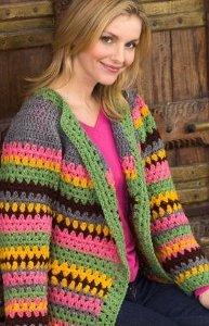 Vintage Striped Crochet Cardigan