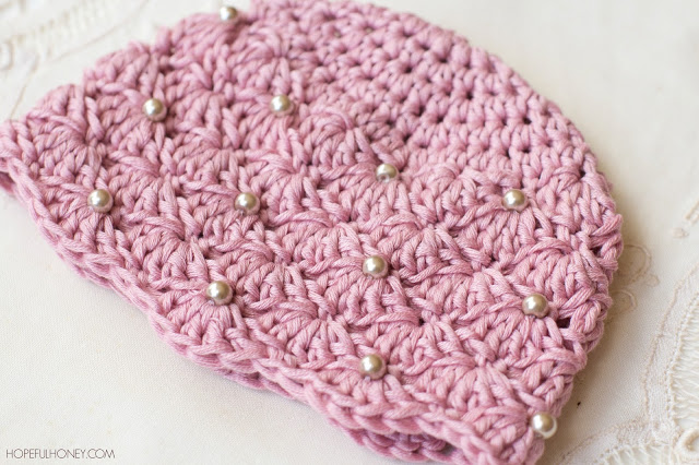 Free Crochet Pattern For Infant Hat : Crochet Hat Pattern: Vintage Pearl Baby Hat - Stitch and ...