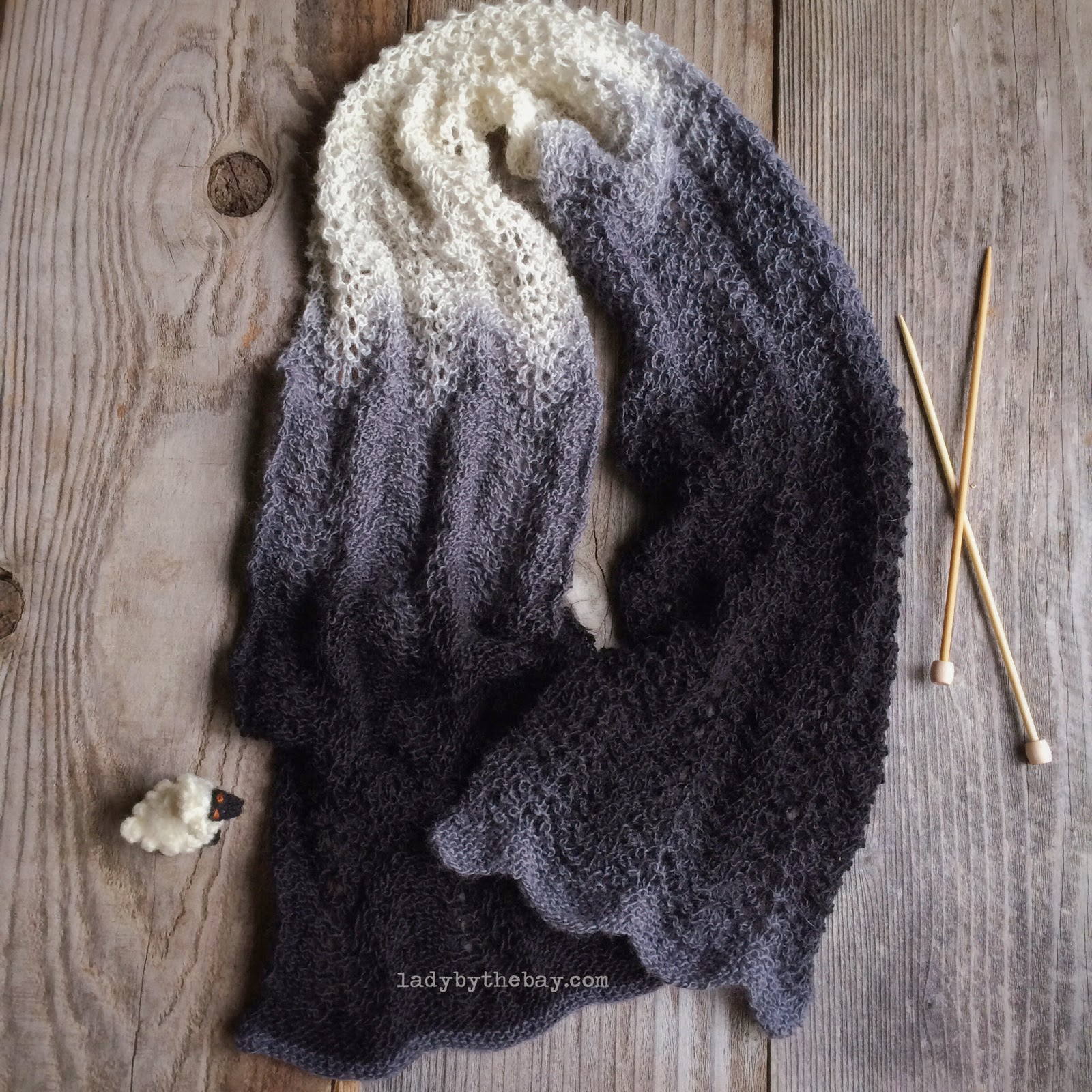 Feather and Fan Knitted Scarf