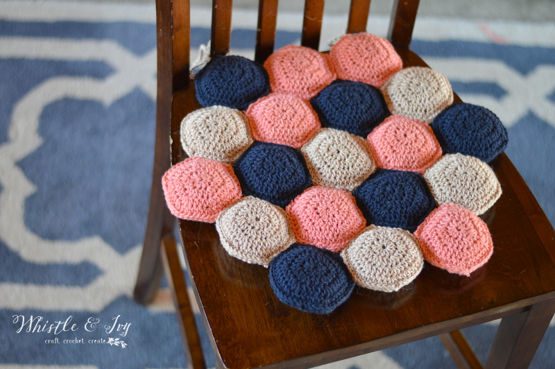 Hexie Puff Seat Cushion Stitch And Unwind