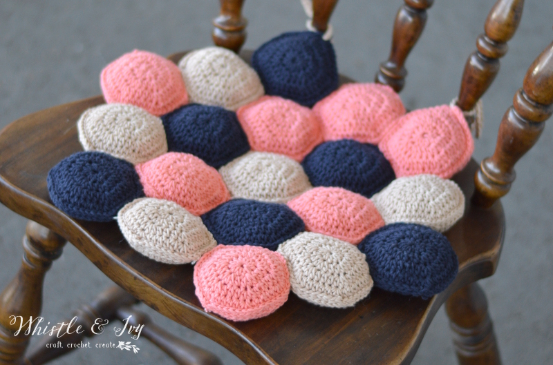 Hexie Puff Seat Cushion - Make a set of these cute and comfy cushion for your kitchen chairs.