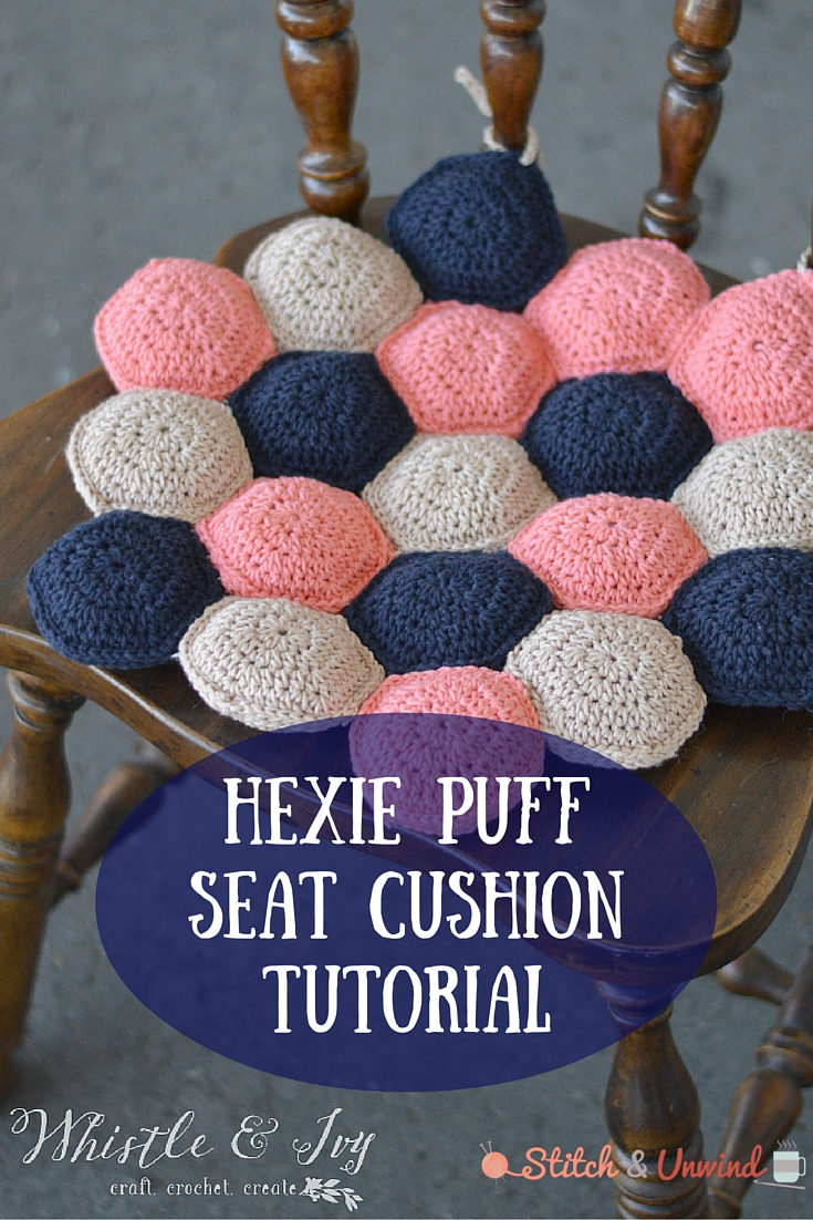 hexie puff seat cushion crochet tutorial