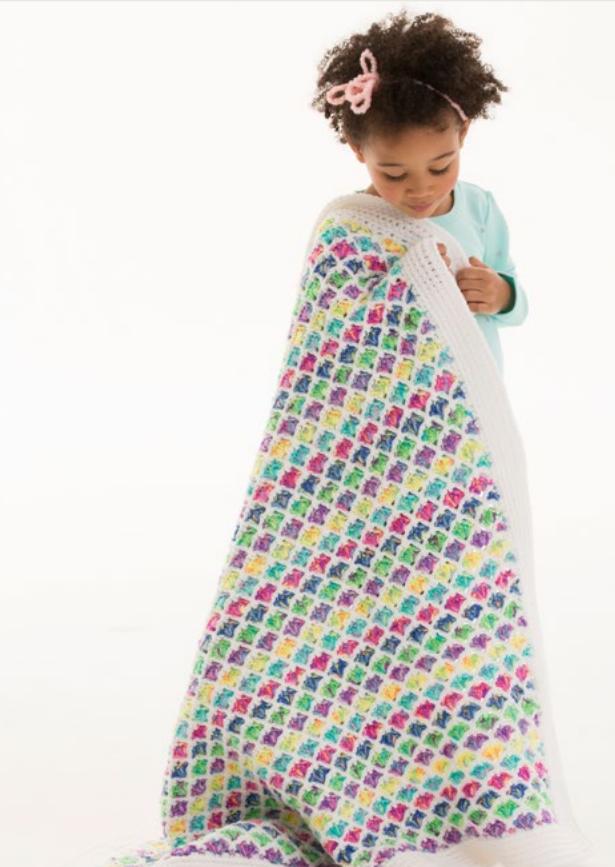 Free Red Heart Crochet Afghan Pattern Rainbow Blanket Cheap Eats