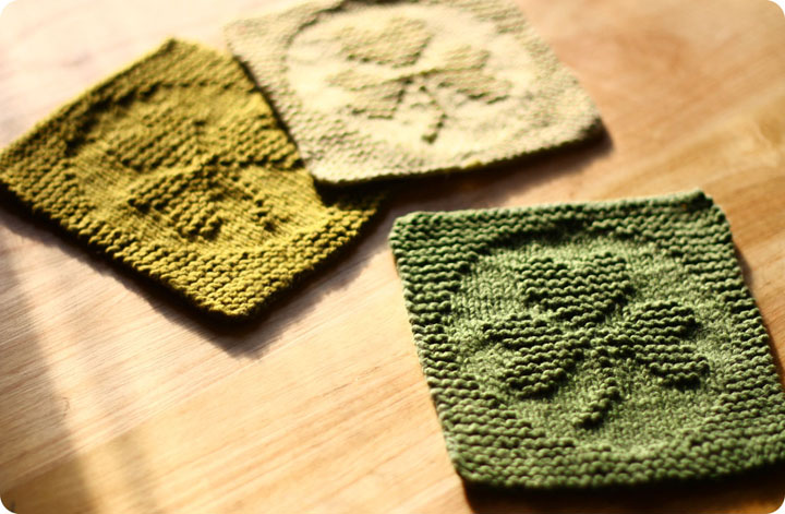 Knitted Shamrock Dishcloth