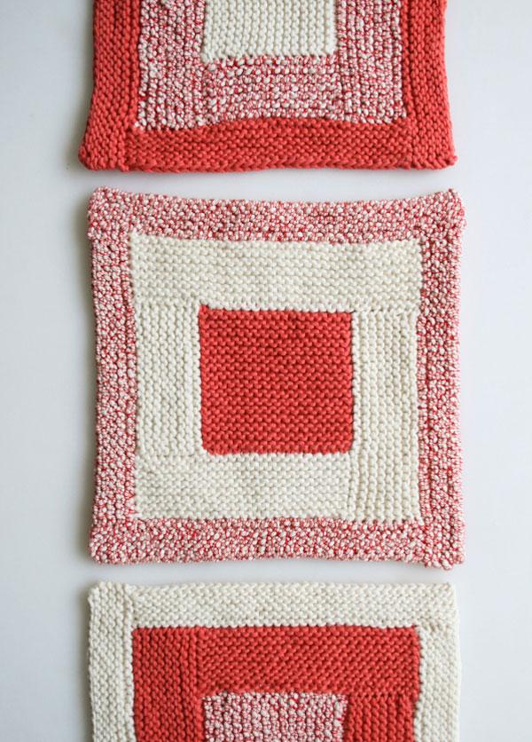 Log Cabin Knit Washcloths