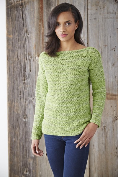 Boat Neck Pullover Crochet Sweater