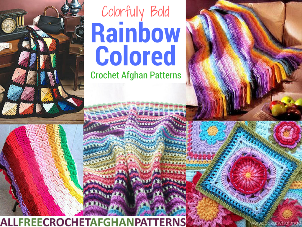 Colorfully Bold 26 Rainbow Colored Crochet Afghan Patterns Stitch