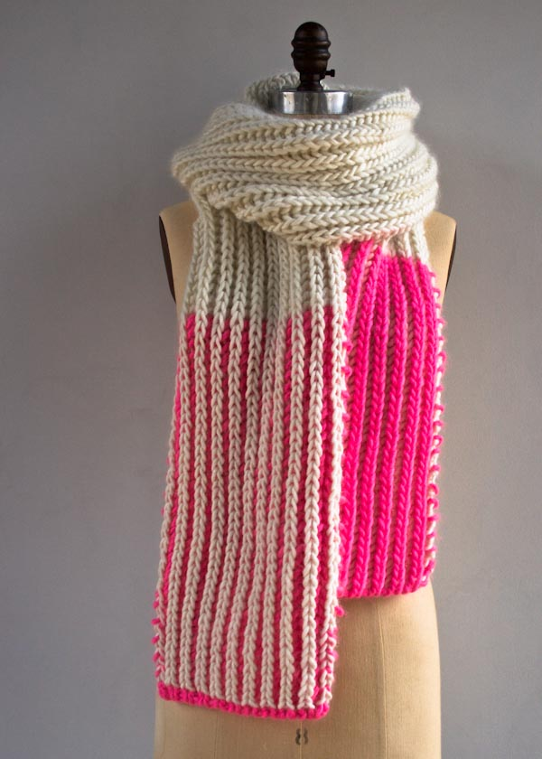 Color Dipped Knit Scarf Stitch And Unwind